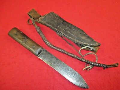 Original Antique 19th Century Plains Knife and Leather Scabbard