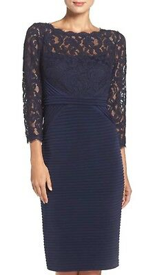 "Adrianna Papell Dress/navy/stretch Fabric/length 41""/retail$189/size 8/lined/"