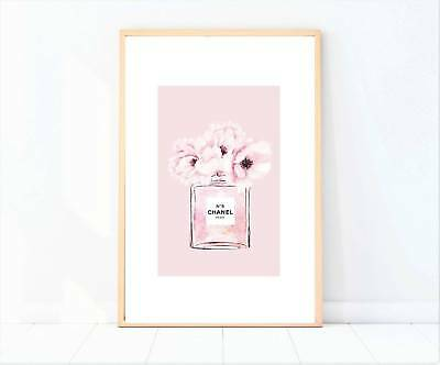 miss coco pink floral bottle print poster