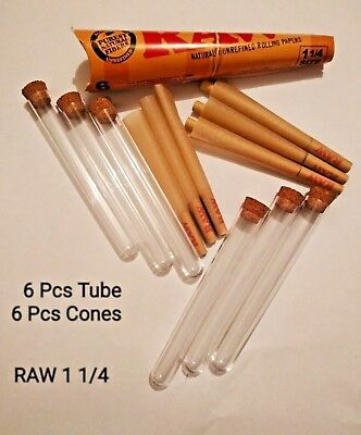 6 Pcs Raw® Classic Pre Rolled Cones 1 1/4 + 6 Pcs Acrylic Doob Tube Cone Holder