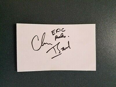 Chris Isaak-signed index card