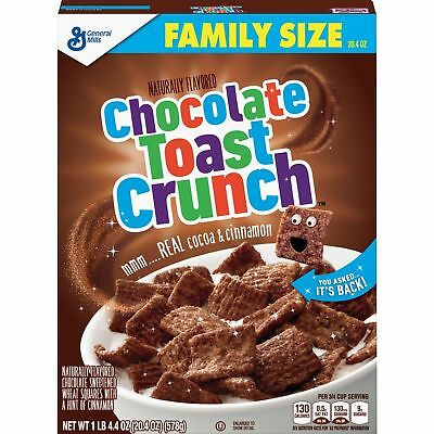 New General Mills Chocolate Toast Crunch Cereal 20.4 Oz Free Worldwide Shipping