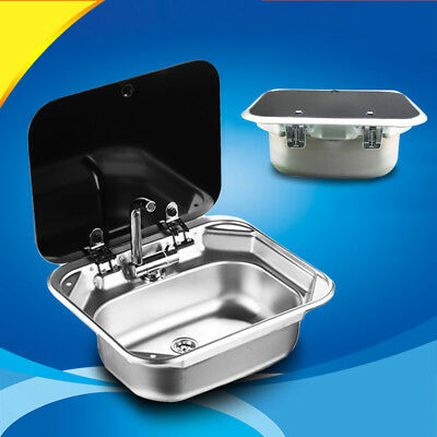 BIN Stainless Steel Caravan RV Camper Hand Wash Basin Kitchen Sink with Lid