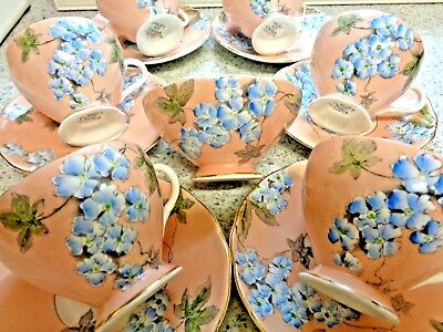 Beautiful Art Deco Foley Bone China part Coffee Set Hand Painted 1930s 40s 13PC.