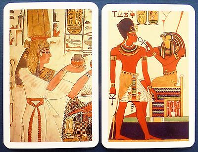 Pair Swap Cards. Ancient Egyptian Art. Pharaoh & Queen. Ankh. Modern Piatnik