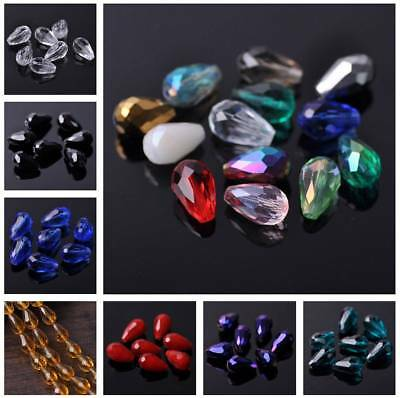 20pcs 16x10mm Teardrop Faceted Crystal Glass Loose Craft Beads Jewelry Findings