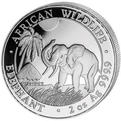 2017 Somali Republic African Wildlife Elephant 2 oz Silver Coin Uncirculated