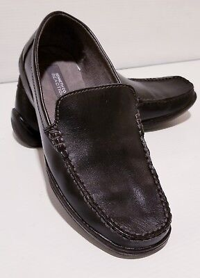 Boys Kenneth Cole Reaction Black Driving Dime Leather Loafers--Size 6.5 M