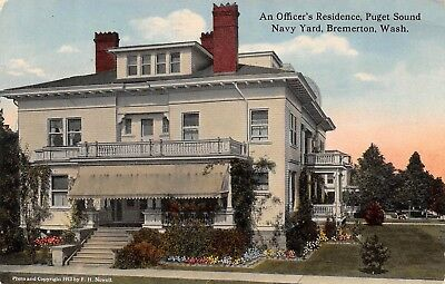 Postcard WA Bremerton Puget Sound Navy Yard Officers Residence Vintage Military
