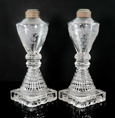 Pair, early Sandwich lamps, pressed stepped base, blown and etched font [11921]