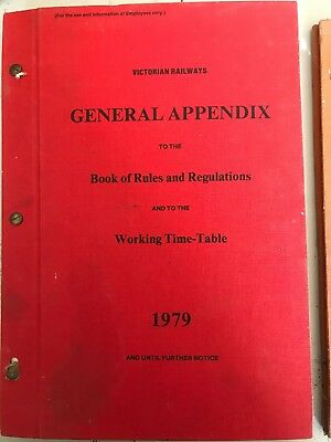 Vic Rail General Appendix Book of RRegs 1979 And The Dang goods Man Free Postage