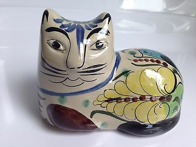 Vintage Mexican Folk Art Pottery Cat Figurine, Signed Mexico