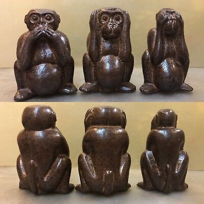 Wood Carving See Speak Hear No Evil 3 Monkey Statues