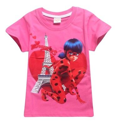 Miraculous Ladybug Pink Girls Shirt top Children's sizes 6, 8 and 10 BNWT