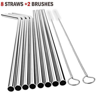 10pc Reusable Eco Drinking Straws Straight bent 316 Stainless cleaner straw