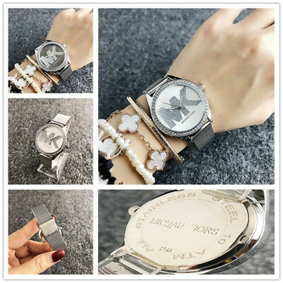 New Women Lady Fashion Watch Crystal Stainless Steel Mesh Band Quartz Wristwatch
