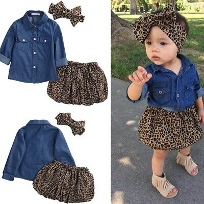 3Pcs Baby Toddler Girls Clothes Leopard Hair Band + Tops + Skirt Outfits Sets