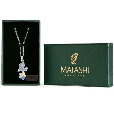 "16"" Rhodium Plated Necklace w/ Butterfly, Flower & Colored Crystals by Matashi"