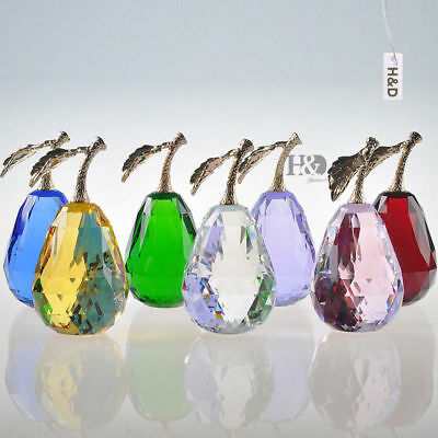 """8 Color Glass Fruit Crystal Pear Figurine Paperweight Ornament & Gift Box 3.8"""""""