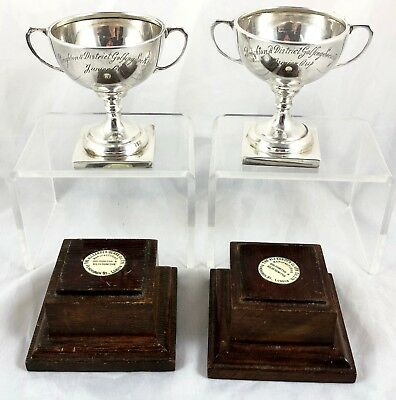 Pair Of Sterling Silver Brighton Golfing Society Trophies On Wooden Stands
