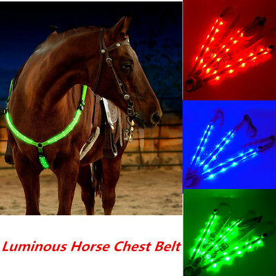 Led Horse Harness Collar Breastplate Plate Saddle Tack Leather Sheepskin Ring YK