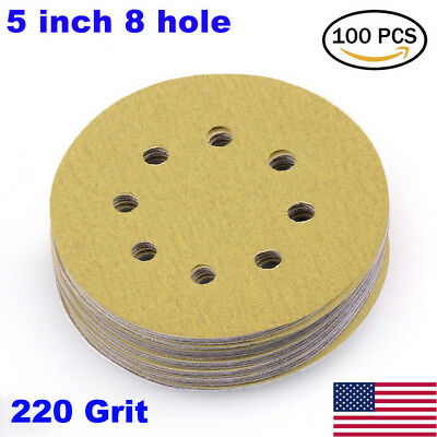 5in 220 Grit Sanding Discs Sandpaper Orbital Sander Pad Sheet Dustless Hook Loop