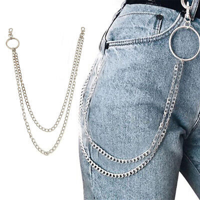 Double Strands Nice Key Chain Rock Punk Trousers Pant Jean Hip Hop Jewelry