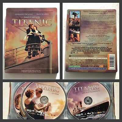 James Cameron Titanic 1997 Blu-ray 3D + 2D Steelbook Limited Edition 4 Disc