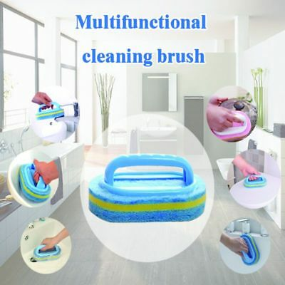 Multifunctional Cleaning Brush with Plastic Handle Clean Kitchen Bathroom Sponge