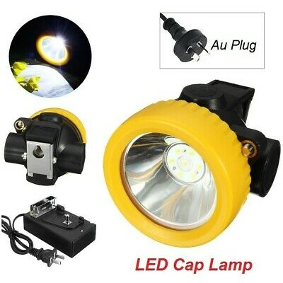 4500LUX Miners Cordless Power LED Helmet Light Safety Head Cap Lamp Torch AUPLUG