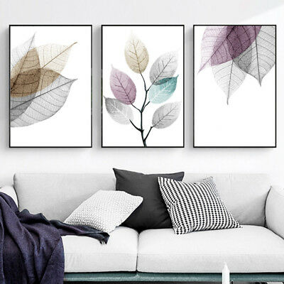 3 Piece Canvas Prints - Abstract Watercolor Leaves Digital Painting Unframed