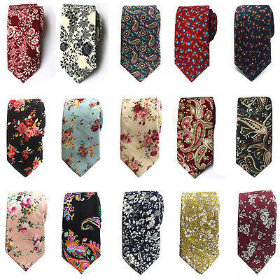 Men Fashion Cotton Flowers Paisley Skinny Neckties Wedding Party Casual Tie