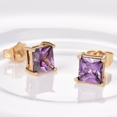 Vintage Style Lady Party Purple Amethyst Crystal 24K Yellow Gold Stud Earrings
