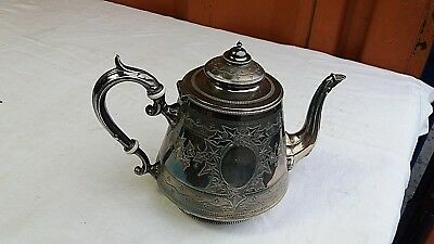 Vintage Antique Ornate Chased Silver Plated Teapot-Height 7 Inch