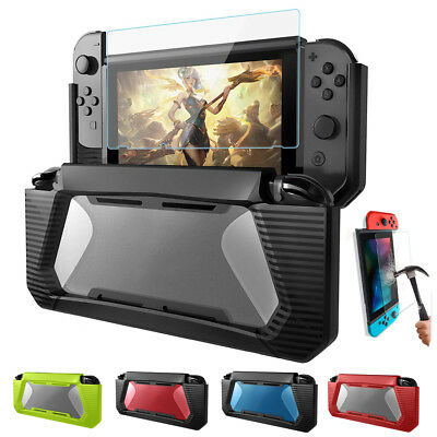 For Nintendo Switch Hybrid Protective Rubberized Case Hard Cover +Tempered Glass