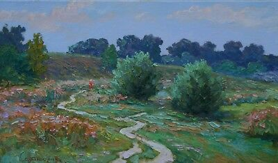 Original Meadow Road Signed Canvas LANDSCAPE Europe Oil Impressionism Art