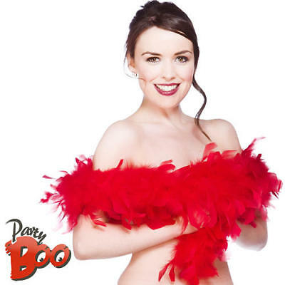 Red Feather Boa Ladies Fancy Dress 20s Flapper Girl Burlesque Costume Accessory