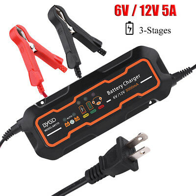 6V/12V Automatic Smart Battery Charger AGM GEL for Car Truck Motorcycle Boat GS