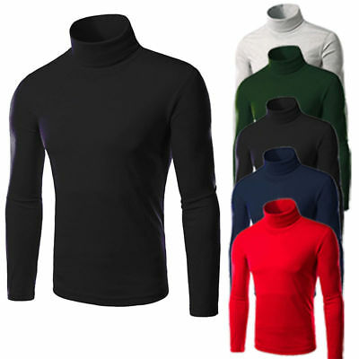 Mens Thermal High Collar Turtle Neck Stretch Long Sleeve Sweater Jumper Blouses