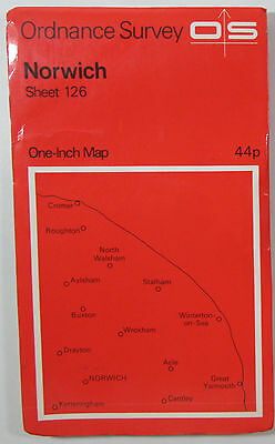 1971 old vintage OS Ordnance Survey seventh series one-inch Map 126 Norwich