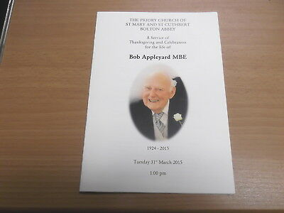 A Service of Thanksgiving and Celebration for the life of Bob Appleyard 2015