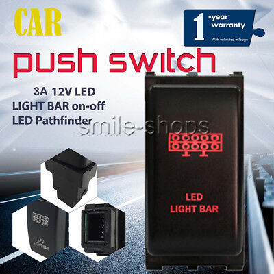 12V 3A Push switch Bright Red LED LIGHT BAR on/off Fit Nissan Frontier 1pcs