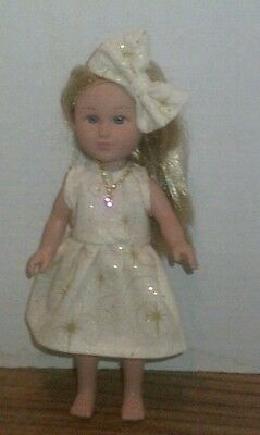"6/6.5"" Doll Clothes-fit Mini American Girl My Life-Dress,Necklace & Bow-Gld Dust"