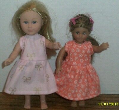 "6/6.5"" Doll Clothes-fit Mini American Girl My Life-2 Dresses-Pk Bow/Orange Fl"