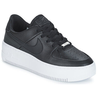 newest 919a8 fcb2c Sneakers Scarpe donna Nike AIR FORCE 1 SAGE LOW W Nero Nero Cuoio 8153480
