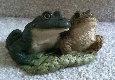 Stone Critters Frog Figurine 2 Frogs on Lily Pad USA Made #SC-376 FREE SHIPPING