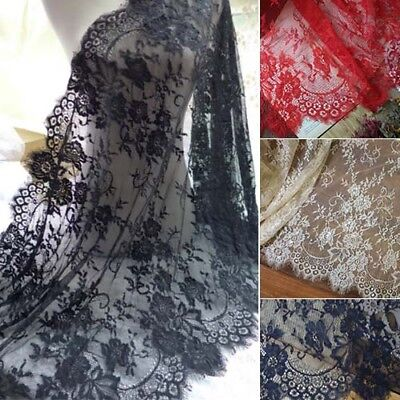 3 Metres Eyelash Lace Trim DIY Clothes Dress Wedding Curtain Fabric 70cm Width