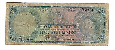1964 Fiji old 5 Shillings paper note QEII