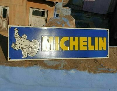 Rare 1930's Old Antique Vintage Michelin Tyres Ad. Porcelain Enamel Sign Board