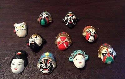 "10  Miniature 1"" Ceramic Colorful Painted Asian Masks in Original Box"